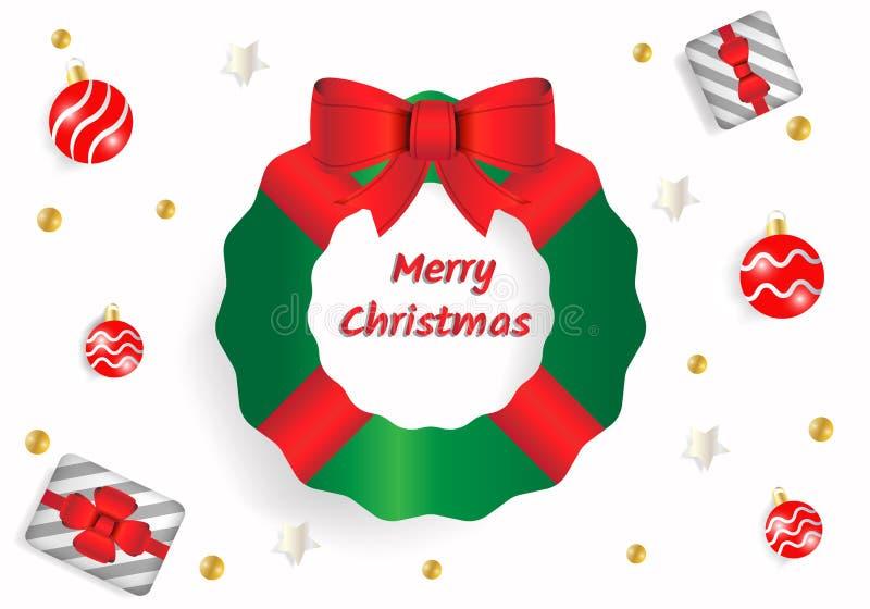 Texto de saludo de la Feliz Navidad en el fondo blanco Usando árbol de abeto verde con el arco rojo de la cinta, la caja de regal stock de ilustración