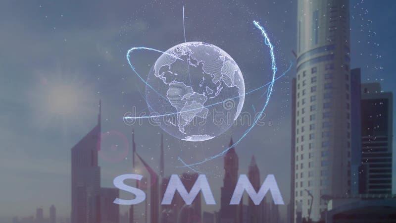 Texto de SMM com holograma 3d da terra do planeta contra o contexto da metr?pole moderna ilustração stock