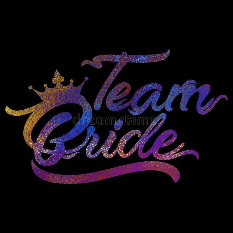 Texto de Team Bride na poeira cor-de-rosa do brilho imagens de stock royalty free