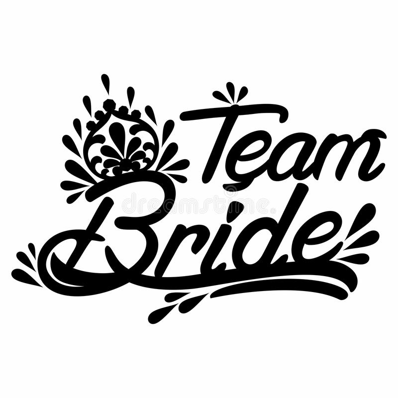 Texto de Team Bride no preto ilustração royalty free