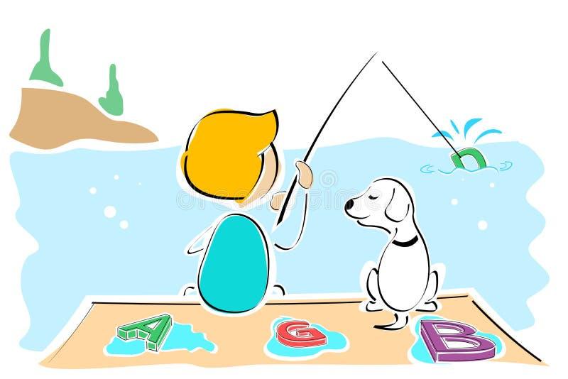 Download Texto De Travamento Do Menino E Do Cão Ilustração Stock - Ilustração de cão, conceptual: 16870572
