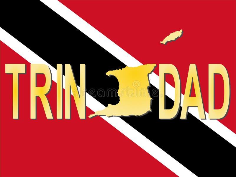 Texto de Trinidad com mapa ilustração stock