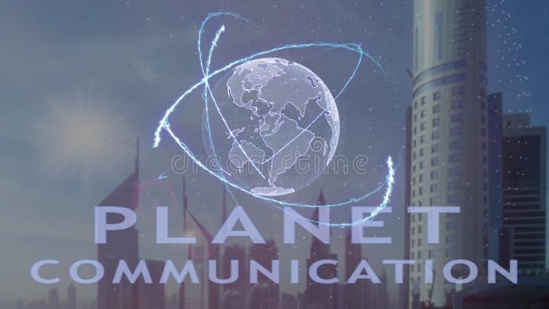 Texto de uma comunica??o do planeta com holograma 3d da terra do planeta contra o contexto da metr?pole moderna fotografia de stock