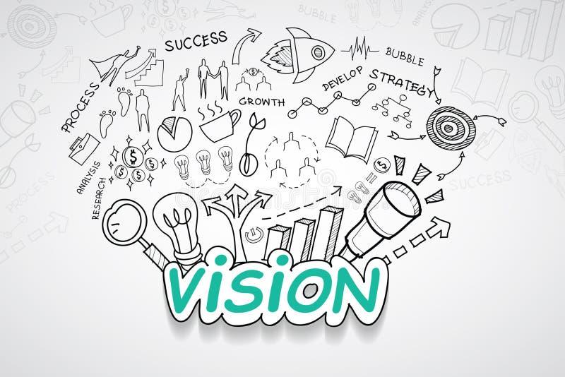 Texto de Vision, con idea creativa del plan de la estrategia del éxito empresarial de las cartas y de los gráficos del dibujo, te stock de ilustración