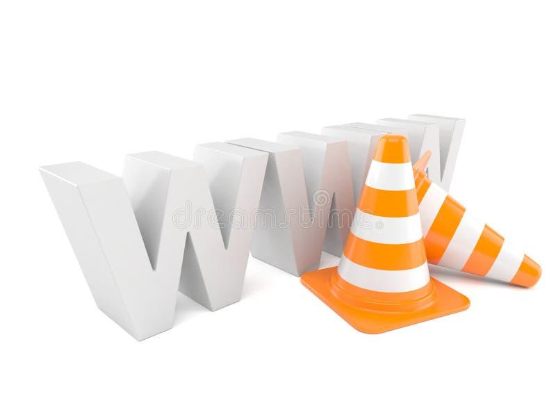Texto de WWW com cones do tráfego ilustração royalty free