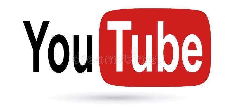 Texto de YouTube con el icono del logotipo stock de ilustración