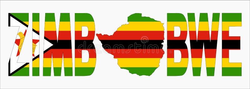 Texto de Zimbabwe com mapa ilustração do vetor