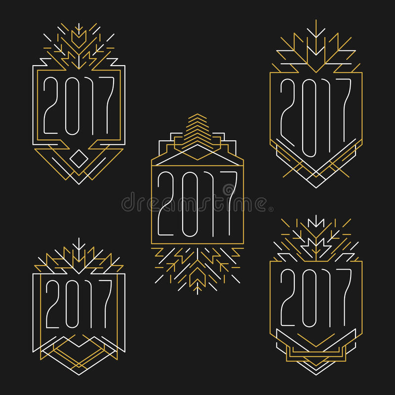 Texto del Año Nuevo 2017 Marcos del art déco en estilo del esquema ilustración del vector