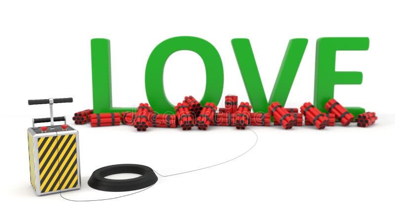 Texto del amor con el paquete y el detenator de la dinamita ilustración 3D stock de ilustración