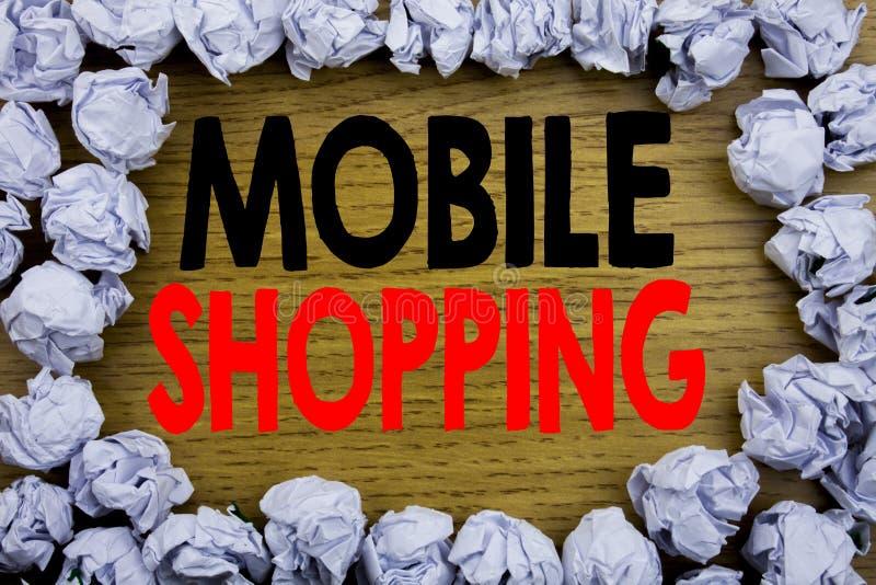 Texto del aviso de la escritura que muestra compras móviles Concepto del negocio para la orden en línea del teléfono móvil escrit foto de archivo libre de regalías