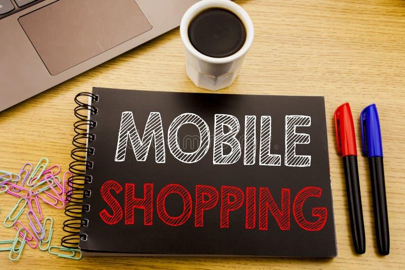 Texto del aviso de la escritura que muestra compras móviles Concepto del negocio para la orden en línea del teléfono móvil escrit imagen de archivo libre de regalías