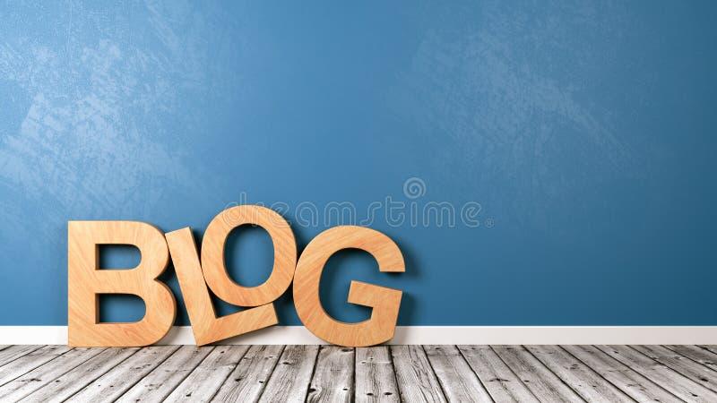 Texto del blog en piso de madera contra la pared stock de ilustración