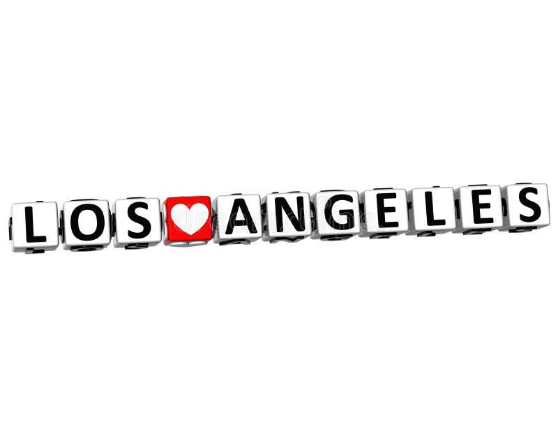texto del bloque del crucigrama de Los Ángeles del amor de 3D I en el fondo blanco ilustración del vector