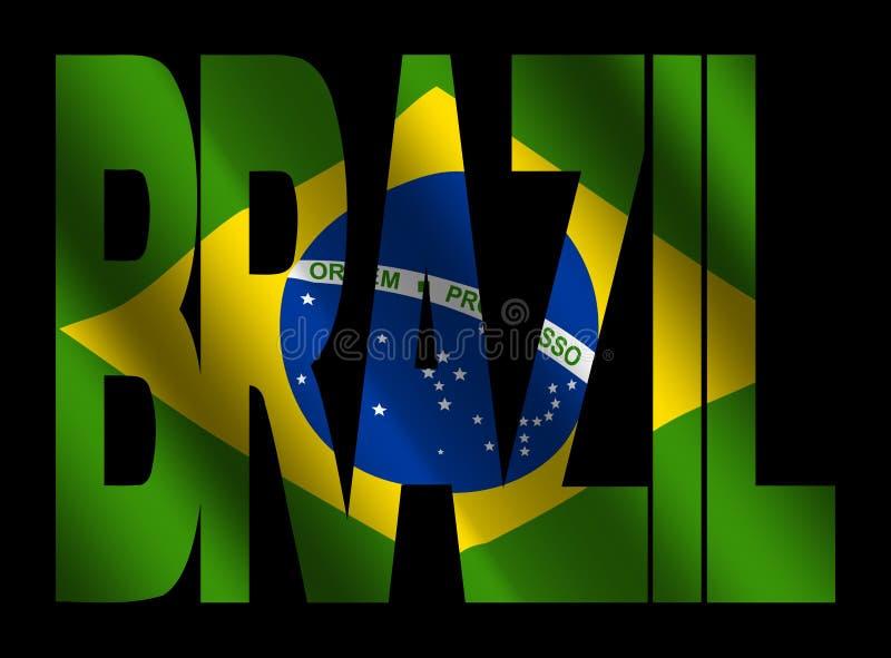 Texto del Brasil con el indicador brasileño ilustración del vector