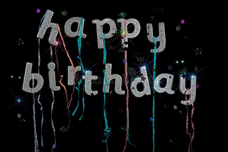 Texto del brillo de la astilla del feliz cumpleaños Imagen de la tarjeta de felicitación B negro imagen de archivo libre de regalías