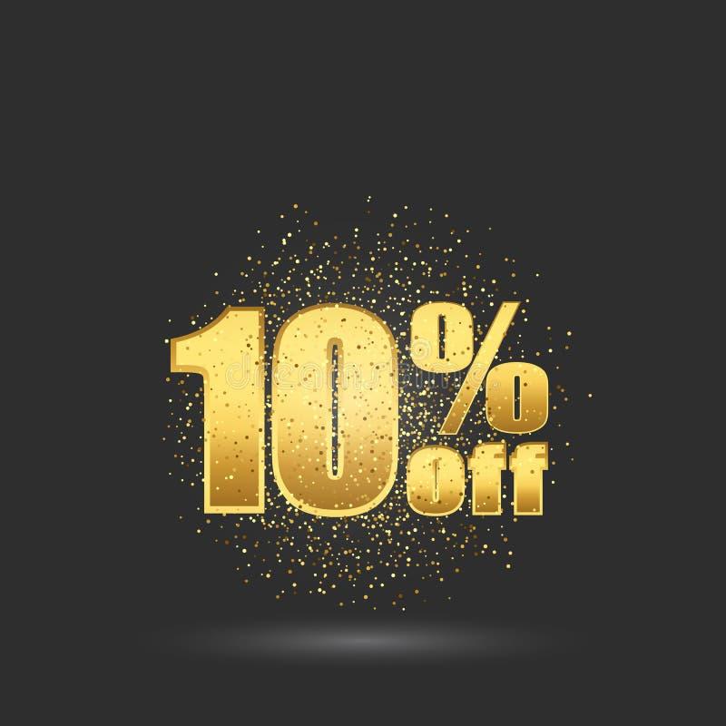 Texto del brillo del oro El diez por ciento apagado 10 de descuento Bandera del oro de la venta libre illustration