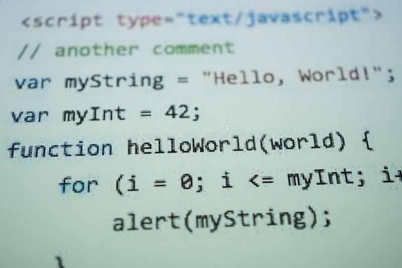 Texto del c?digo de Digitaces Java El ordenador codifica concepto en software foto de archivo