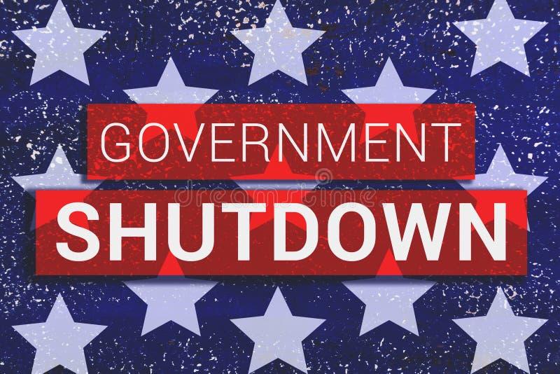 Texto del cierre del gobierno con las estrellas de nosotros bandera en fondo azul ilustración del vector
