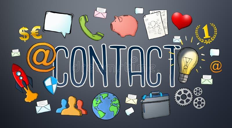 Texto del contacto del email del manuscrito con los iconos libre illustration