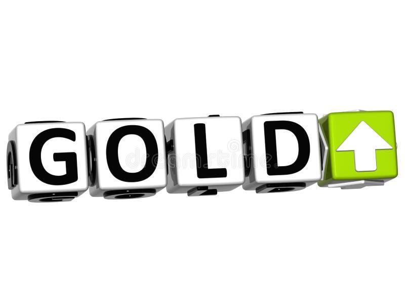 texto del cubo del bloque del botón del oro 3D stock de ilustración