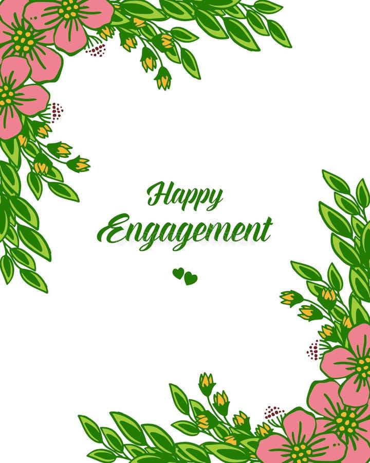 Texto del ejemplo del vector del compromiso feliz con adornado del bastidor floral stock de ilustración
