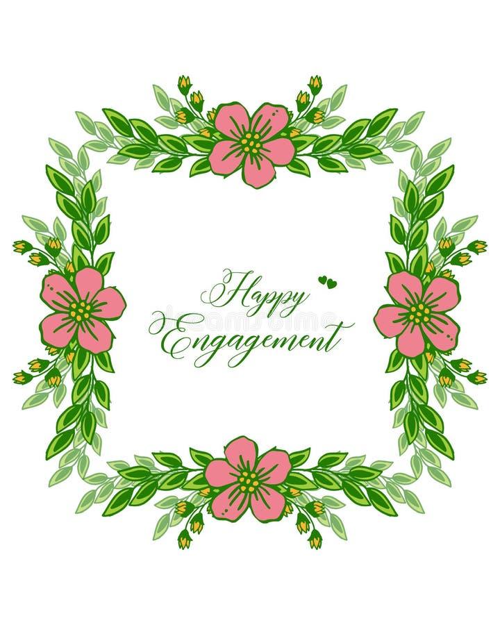 Texto del ejemplo del vector del compromiso feliz con adornado del bastidor floral libre illustration