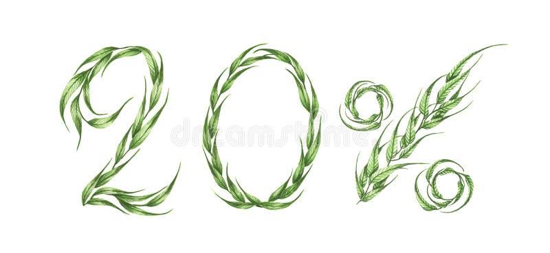 texto del 20%, el veinte por ciento de las hojas verdes, el por ciento verde Ilustración de la acuarela libre illustration