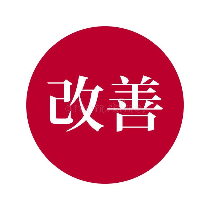 Texto del emblema del vector de Kaizen en la bandera de Japón detrás stock de ilustración