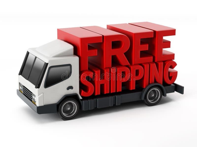 Texto del envío gratis que se coloca en el camión de reparto ilustración 3D ilustración del vector