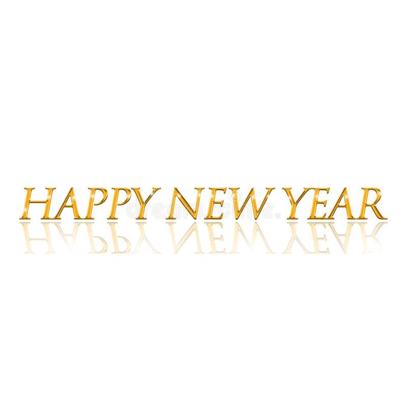 Texto del estilo del oro de la Feliz Año Nuevo con la reflexión contra un fondo blanco ilustración del vector