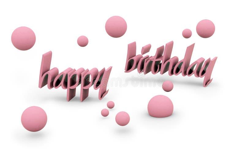 Texto del feliz cumpleaños stock de ilustración