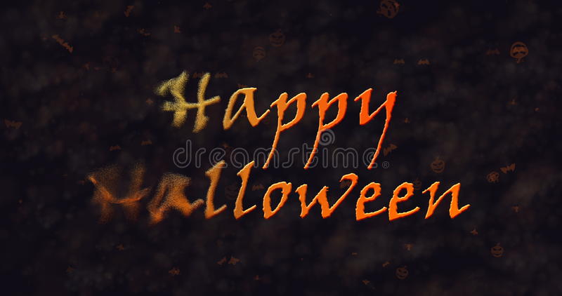 Texto del feliz Halloween que disuelve en el polvo a la izquierda ilustración del vector