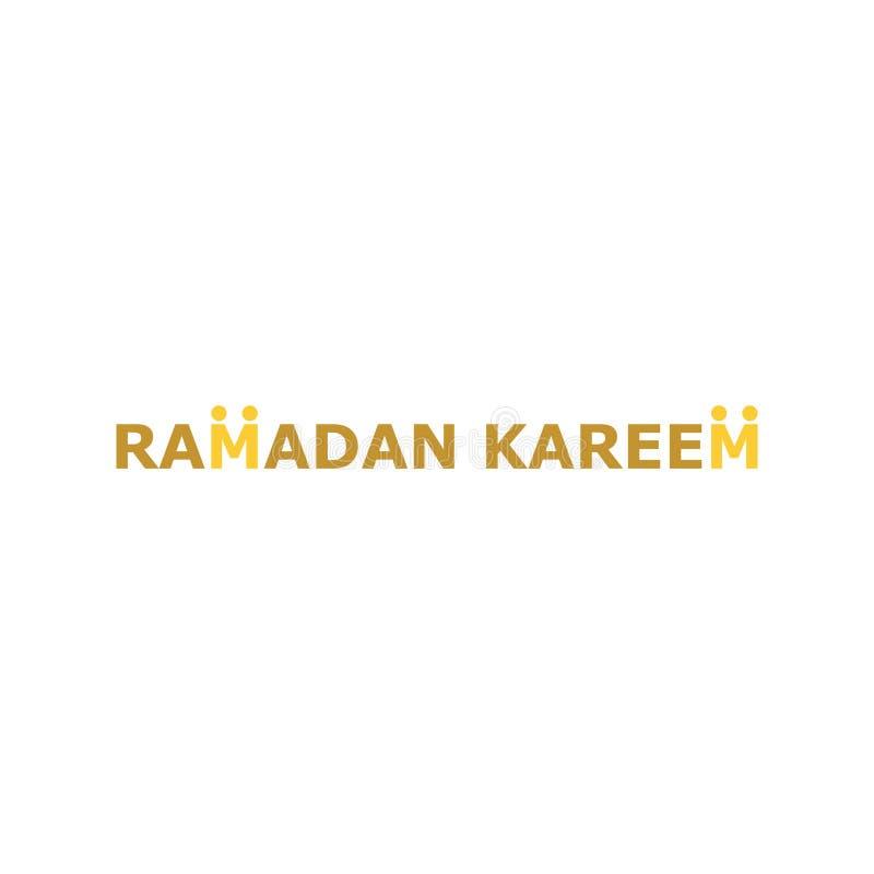 Texto del kareem del Ramadán para el logotipo islámico, icono, diseño de la plantilla stock de ilustración