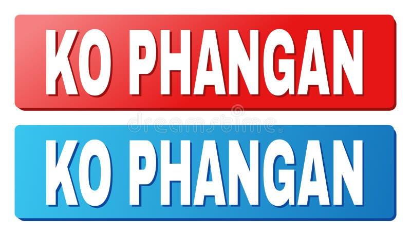 Texto del knock-out PHANGAN en los botones azules y rojos del rectángulo libre illustration