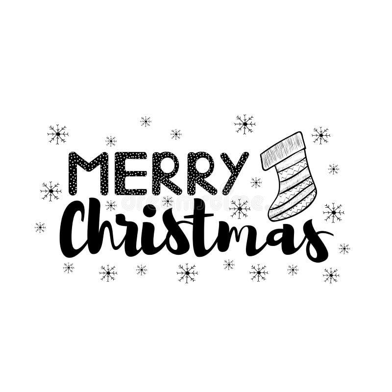 Texto del negro de la Feliz Navidad con el calcetín y los copos de nieve dibujados mano stock de ilustración