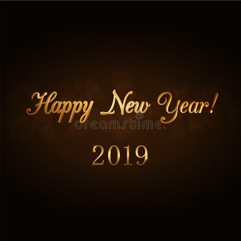 Texto del oro de la Feliz Año Nuevo Fondo 2019 del día de fiesta Saludo del diseño, tarjeta, invitación Tipo decorativo de oro Sí libre illustration