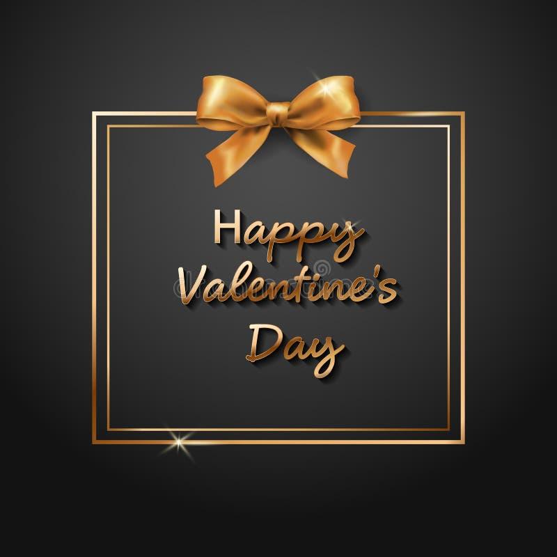 Texto del oro de la venta de día de San Valentín en marco en la publicidad del aviso del cartel con los globos de oro del corazón stock de ilustración