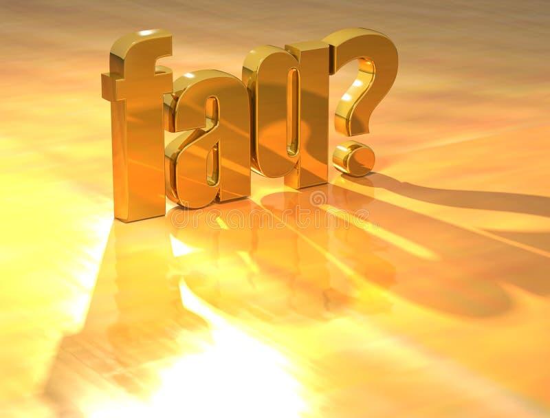 texto del oro del FAQ 3D stock de ilustración