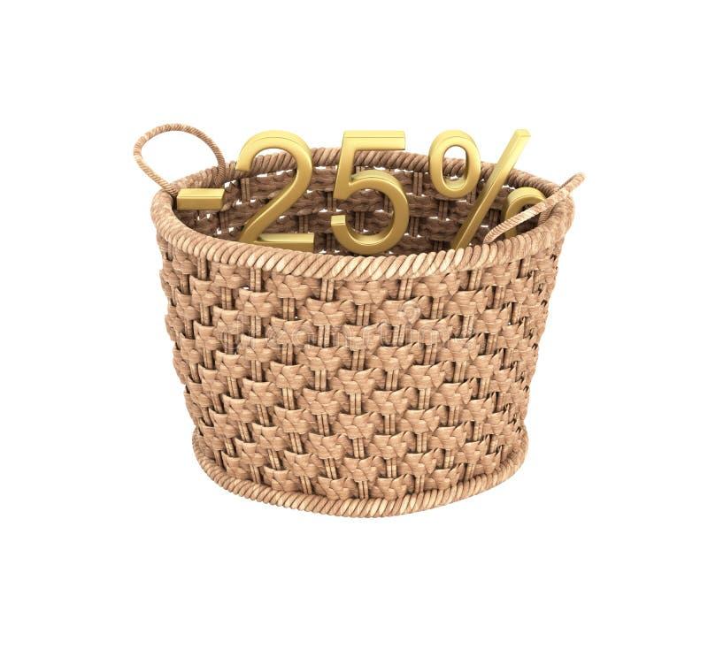 Texto del oro el 25 por ciento apagado dentro del ejemplo de la cesta de mimbre del concepto del descuento en el fondo blanco sin stock de ilustración