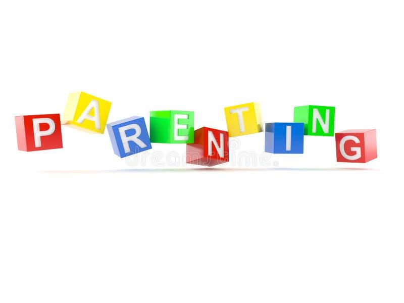 Texto del Parenting de bloques del juguete ilustración del vector