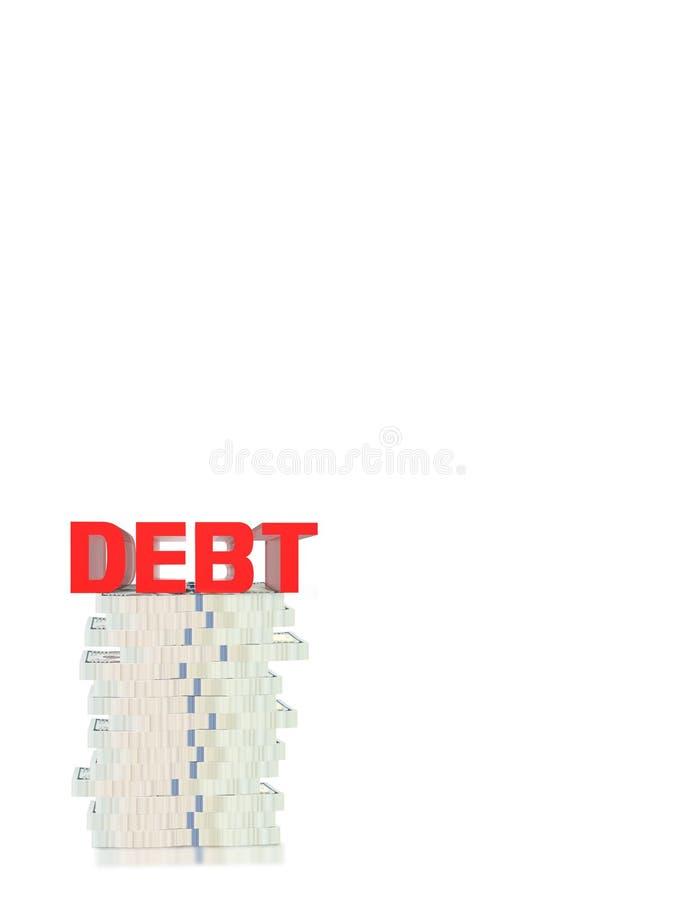 texto del rojo de la deuda 3D libre illustration