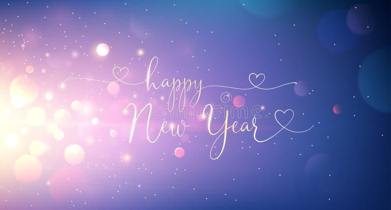 Texto del saludo de la Feliz Año Nuevo Vector ilustración del vector