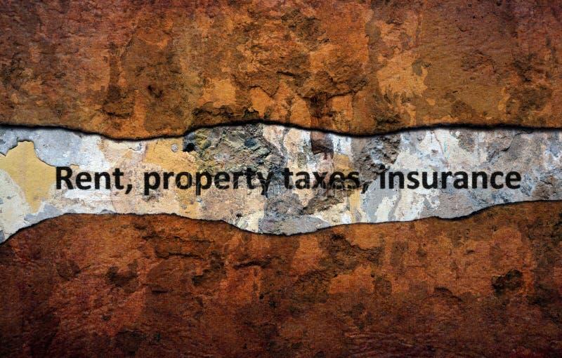 Texto del seguro de la contribución territorial del alquiler en la pared foto de archivo libre de regalías