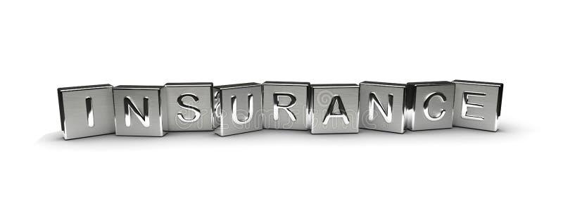 Texto del seguro en bloque del metal stock de ilustración