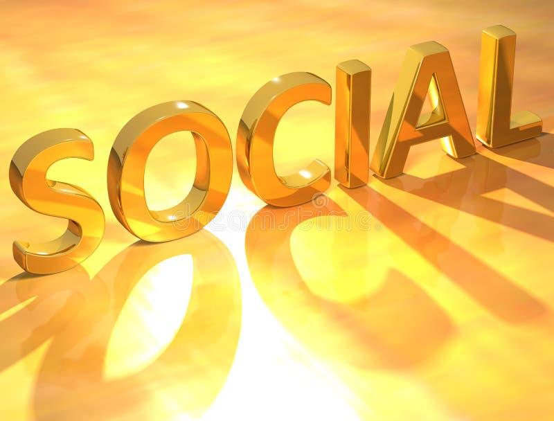 Texto del Social del oro ilustración del vector