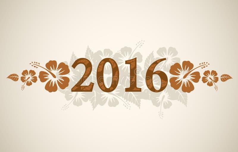 Texto del vector 2016 con el hibisco tropical stock de ilustración