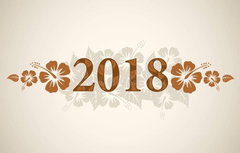 Texto del vector 2018 con las flores tropicales del hibisco stock de ilustración