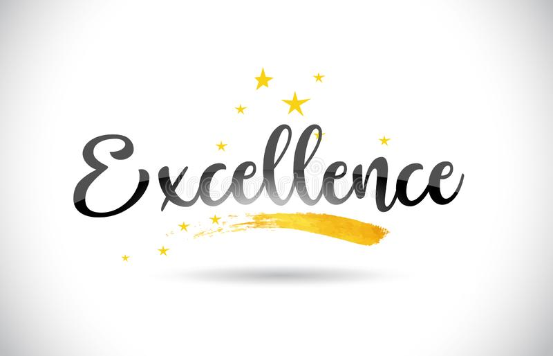 Texto del vector de la palabra de la excelencia con el rastro de oro y Handwrit de las estrellas ilustración del vector