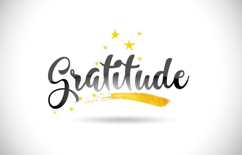 Texto del vector de la palabra de la gratitud con el rastro de oro y Handwritt de las estrellas ilustración del vector