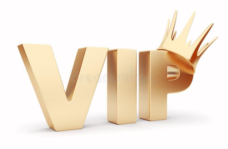 Texto del VIP 3D con la corona. Aislado en blanco ilustración del vector